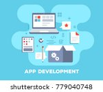 app development concept on blue ... | Shutterstock .eps vector #779040748