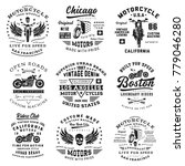 set of vintage motorcycle... | Shutterstock .eps vector #779046280