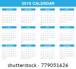 Simple 2019 Year Calendar Set...