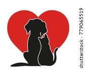 Stock photo heart on the background of a cat and a dog 779065519