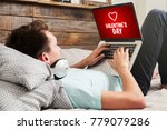 man visiting a valentine's day... | Shutterstock . vector #779079286