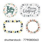 set of xmas greeting frames in... | Shutterstock .eps vector #779080063