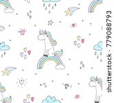 cute hand drawn unicorn vector...   Shutterstock .eps vector #779088793