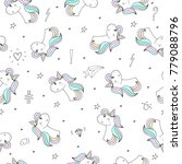 cute hand drawn unicorn vector... | Shutterstock .eps vector #779088796