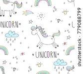 cute hand drawn unicorn vector... | Shutterstock .eps vector #779088799