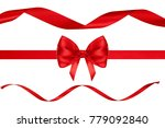 red ribbon bow and ribbons on... | Shutterstock . vector #779092840