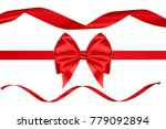 single red silk gift nice bow... | Shutterstock . vector #779092894