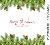 red text merry christmas and... | Shutterstock .eps vector #779093290