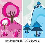 trees abstract color vector | Shutterstock .eps vector #77910961