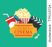 popcorn and drink. film strip... | Shutterstock .eps vector #779115724