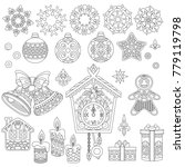 christmas doodles. coloring...   Shutterstock .eps vector #779119798