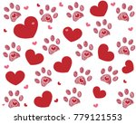 Dog Paw Print With Hearts....