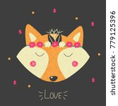funny cartoon fox with floral... | Shutterstock .eps vector #779125396