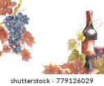 bottles and glasses of wine and ... | Shutterstock . vector #779126029