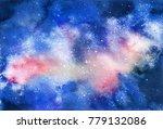 watercolor cosmic texture with... | Shutterstock . vector #779132086