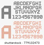 dotted font in retro style ... | Shutterstock .eps vector #779132473