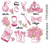 vector wedding fashion patches... | Shutterstock .eps vector #779135434