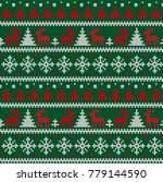 knitted christmas and new year... | Shutterstock .eps vector #779144590