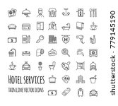hotel services vector icons set ... | Shutterstock .eps vector #779145190