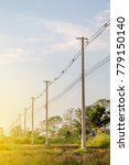 The Line Of Electric Poles Wit...