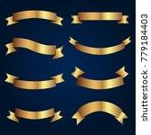 set of golden ribbons vector. | Shutterstock .eps vector #779184403