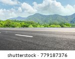 green mountain and empty... | Shutterstock . vector #779187376