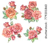 set of roses bouquets ... | Shutterstock . vector #779201860
