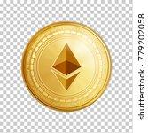 golden ethereum coin. crypto... | Shutterstock .eps vector #779202058