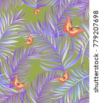 seamless hand drawn exotic... | Shutterstock .eps vector #779207698