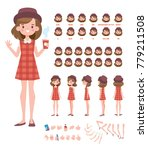 pretty girl in hat for... | Shutterstock .eps vector #779211508