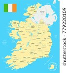 ireland map and flag   high... | Shutterstock .eps vector #779220109