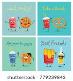 cartoon funny friends fast food ... | Shutterstock .eps vector #779239843