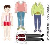 paper doll set   little boy in... | Shutterstock .eps vector #779240560