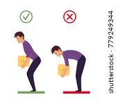 correct  incorrect back spine... | Shutterstock .eps vector #779249344