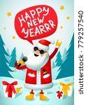 rock n roll santa. singing...   Shutterstock .eps vector #779257540
