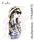 hand drawn beautiful young... | Shutterstock .eps vector #779268973