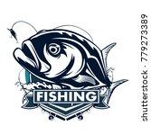 fishing emblem of  permit... | Shutterstock .eps vector #779273389