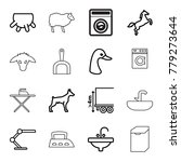domestic icons set of 16