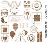 birthday vector stamp set  ... | Shutterstock .eps vector #77928874