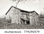 old brick house with wooden... | Shutterstock . vector #779290579