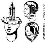 vector set of  hand drawn ... | Shutterstock .eps vector #779297470