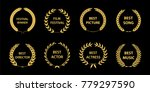 film awards wreaths set. film... | Shutterstock .eps vector #779297590