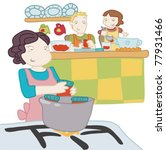 a girl cooks with her parents. | Shutterstock .eps vector #77931466