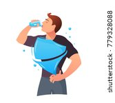 man is drinking water.... | Shutterstock .eps vector #779328088
