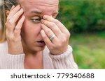 woman with headache. seasonal... | Shutterstock . vector #779340688