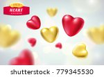 golden  red realistic hearts... | Shutterstock .eps vector #779345530