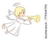 cute little christmas angel. he ...   Shutterstock .eps vector #779349793