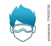 man with winter googles face | Shutterstock .eps vector #779352730