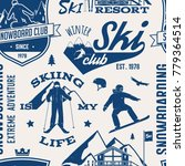 ski and snowboard club seamless ... | Shutterstock .eps vector #779364514