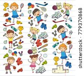 boys and girls playing sports...   Shutterstock .eps vector #779370868